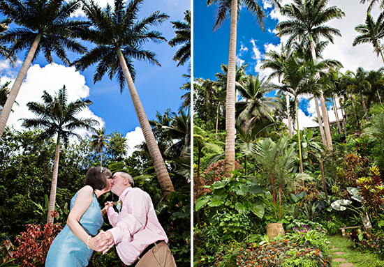 A celebratory kiss surrounded by natural and historic 80 foot palms