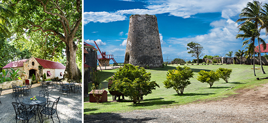 The beautiful grounds include a steam mill, syrup and distillery, used for the production of its own handcrafted rum